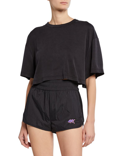 Short-Sleeve Cupro Jersey Crop Top