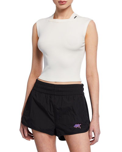 Variegated Compact Sleeveless Jersey Crop Top