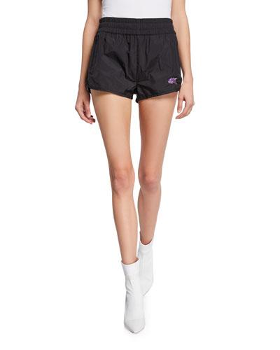 Washed Nylon Pull-On Shorts