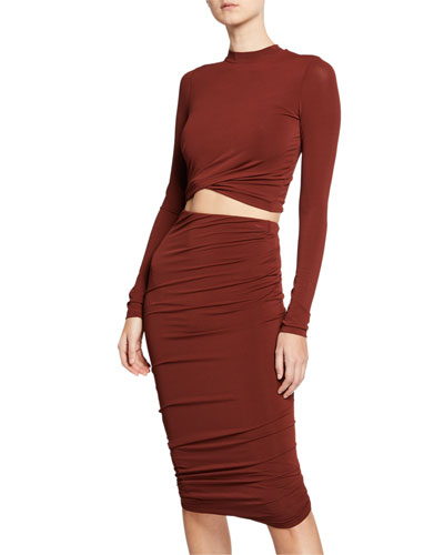 Twisted Mock-Neck Long-Sleeve Cropped Jersey Top