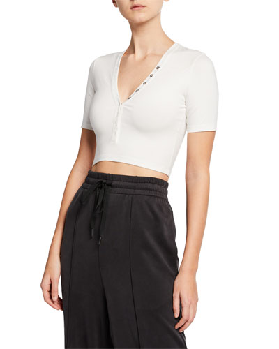 V-Neck Snap-Front Short-Sleeve Cropped Jersey Top