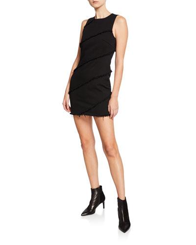 Diagonal Seamed Crewneck Mini Dress
