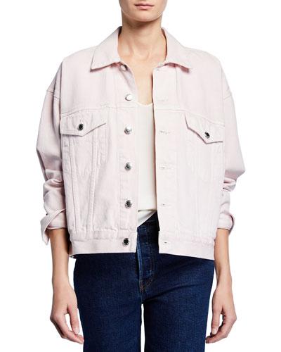Game Oversized Button-Front Denim Jacket