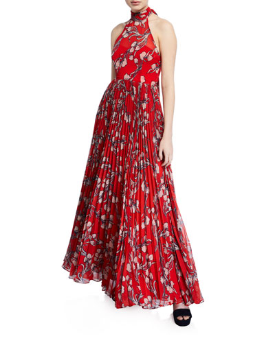 The Zora Halter-Neck Leaf-Print Dress