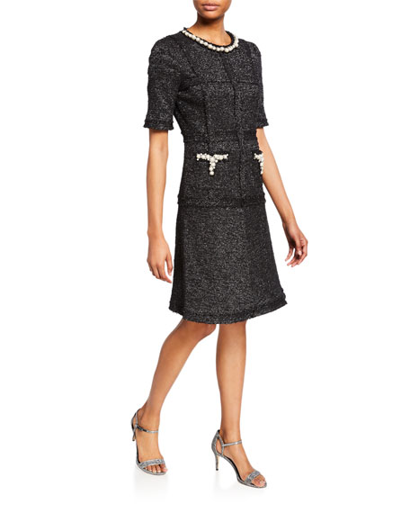 Rickie Freeman For Teri Jon  METALLIC TWEED SHORT-SLEEVE COCKTAIL DRESS W/ PEARLESCENT TRIM