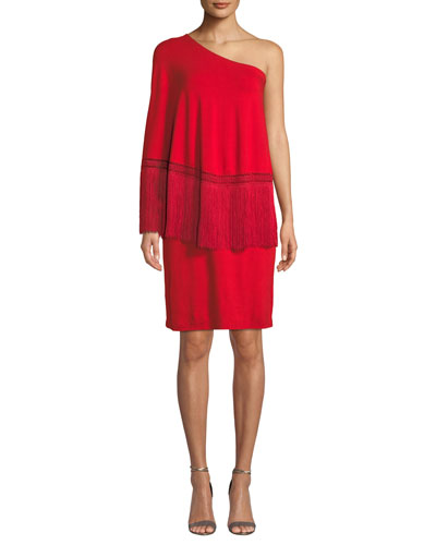 Trina Turk Eastside 1 Shoulder Popover Fringe Dress