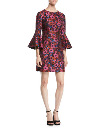 Bell-Sleeve Floral Mini Dress