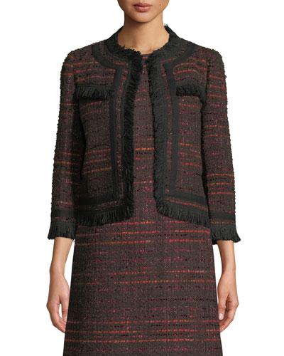 multi tweed fringe jacket
