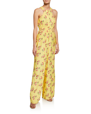 857b19366c Jill Jill Stuart Lemon Floral Jacquard Sleeveless Zip-Front Jumpsuit