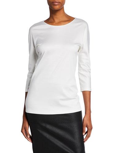 3/4-Sleeve Cotton-Silk Knit Tunic
