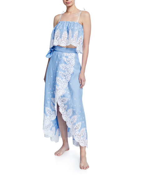 Miguelina Clarice Linen Coverup Skirt with Lace