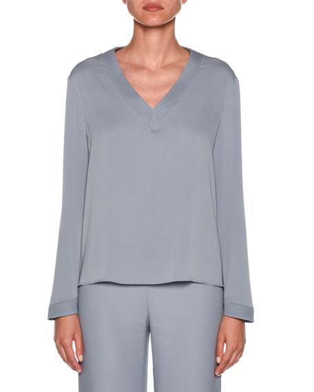 Giorgio Armani Long-Sleeve V-Neck Silk Blouse