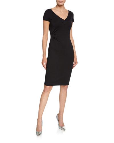 V-Neck Milano Jersey Cap-Sleeve Sheath Dress