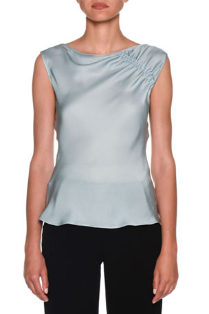 Giorgio Armani Ruched-Shoulder Sleeveless Silk Blouse, Aquamarine