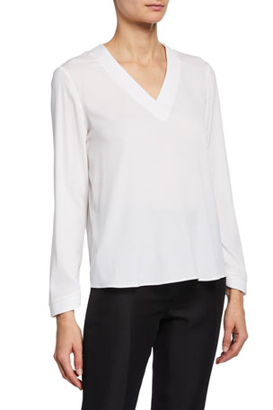 Giorgio Armani V-Neck Long-Sleeve Silk Blouse with Embroidered Details