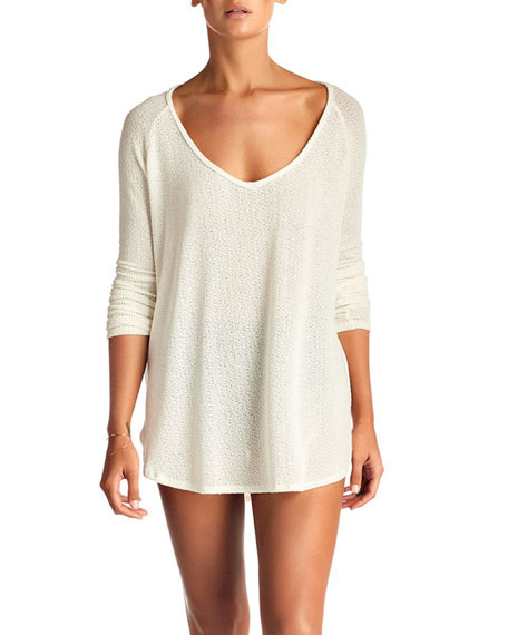 Vitamin A DRIFTER BEACH SWEATER COVERUP, CREAM