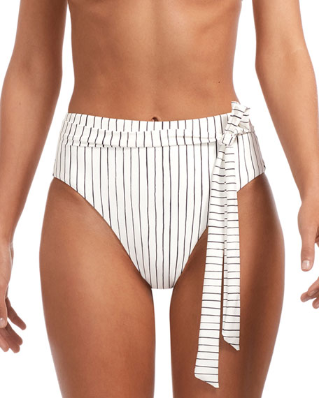 Vitamin A LOLA STRIPE HIGH-WAIST CHEEKY BIKINI BOTTOMS