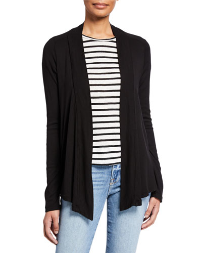 Classic 1x1 Cotton/Modal Open-Front Cardigan