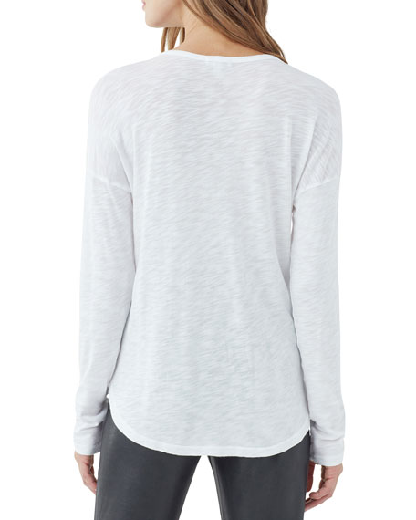 SPLENDID Cottons ZANDER EASY SLUB LONG-SLEEVE CREWNECK TEE