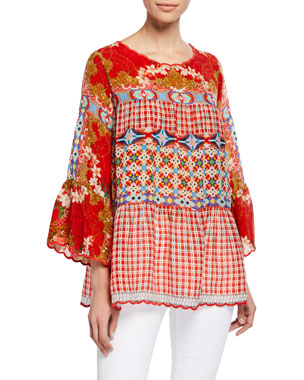 855c857bbf6 Johnny Was Plus Size Fyson Scoop-Neck Flared-Sleeve Mixed-Print Blouse