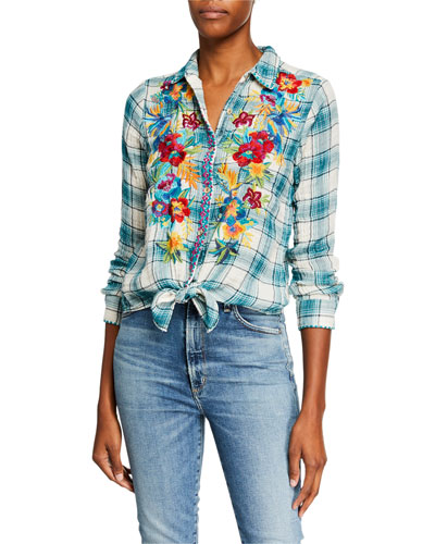 Nandi Estelle-Plaid Button-Down Tie-Front Shirt