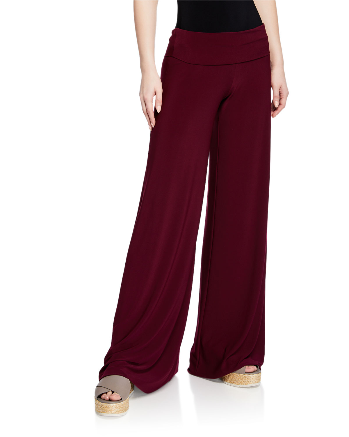 abd43a3123fd Norma Kamali Fold-Over Wide-Leg Elephant Sweatpants