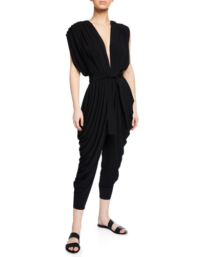 Plunging Sleeveless Waterfall Jumpsuit