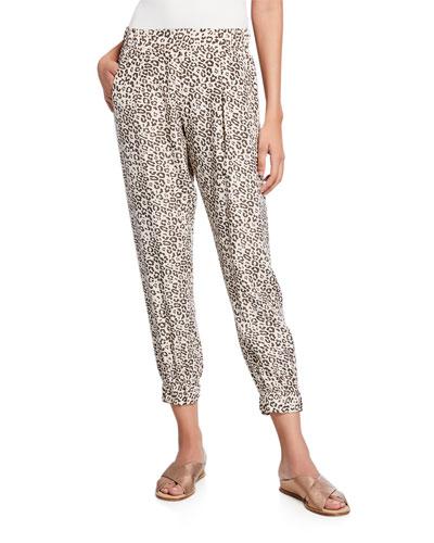 Lunar Leopard-Print Cropped Silk Sweatpants