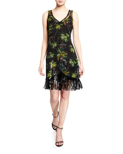 Frolic Room Palm Trim Printed Sequin Fringe Dress