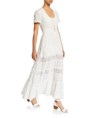 77a7897818f0 Jonathan Simkhai Lace Combo Front-Slit Maxi Dress