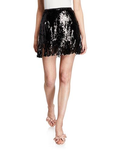 Speak Easier Sequined Fringe Short Skirt