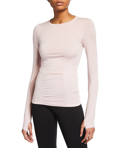 Magnetic Long-Sleeve Mesh Top