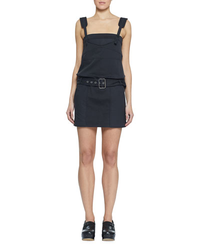 Belted Sleeveless Twill Utility Short Dress