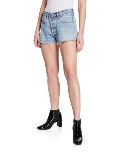 Frayed Cutoff Denim Shorts