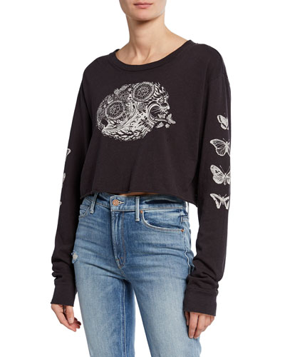Psychedelic Lion Long-Sleeve Crop Top