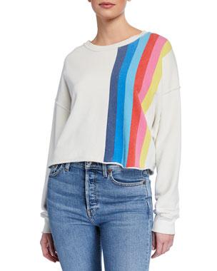 7126fee9850 RE DONE Striped Raw-Edge Crewneck Sweatshirt