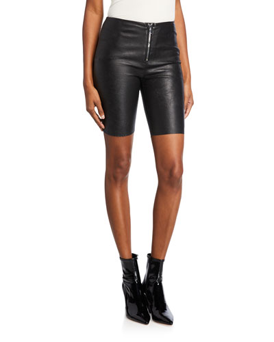 Mona Leather Zip-Front Bike Shorts