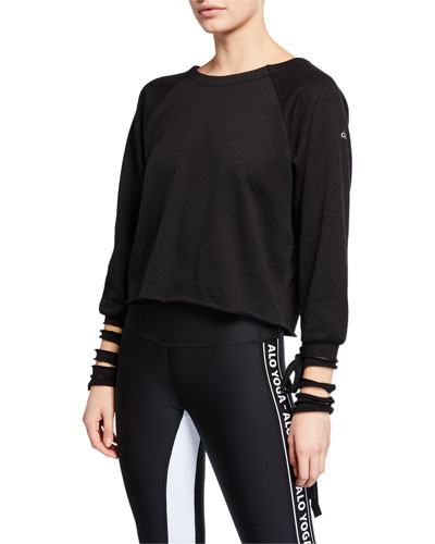 Tribe Long-Sleeve Top with Slashed Cuffs & Ties