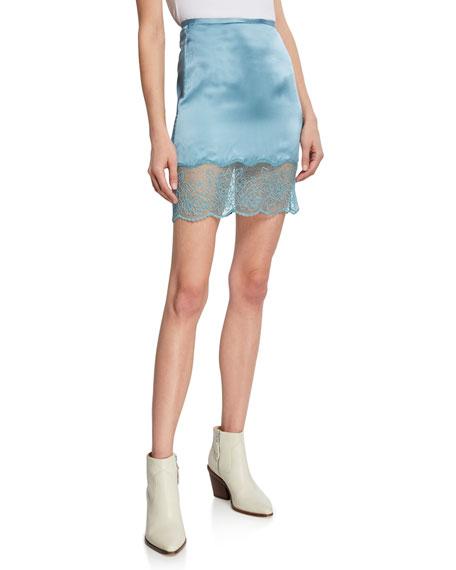 Sablyn Skirts XANDER SILK MINI SKIRT W/ LACE TRIM