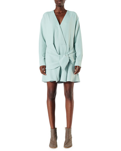 Draped Long-Sleeve Belted Short Dress