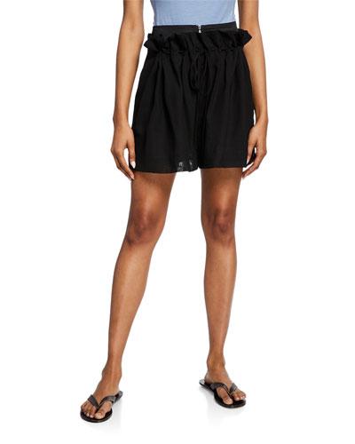 Gauze Overlay Wool-Blend Drawstring Shorts