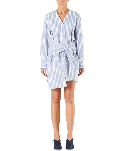 Liam Striped Shirting V-Neck Shirt Dress