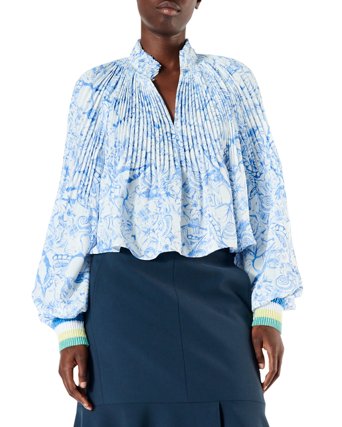 24ffe7f21767e Tibi Isa Toile Pleated Cropped Blouse with Ribbed Cuffs