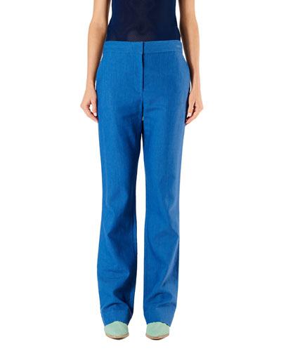 Jamie Linen-Viscose Suiting Boot-Cut Pants