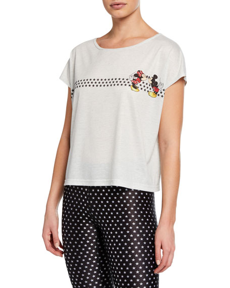 Terez MICKEY AND MINNIE MOUSE PRINTED TOP