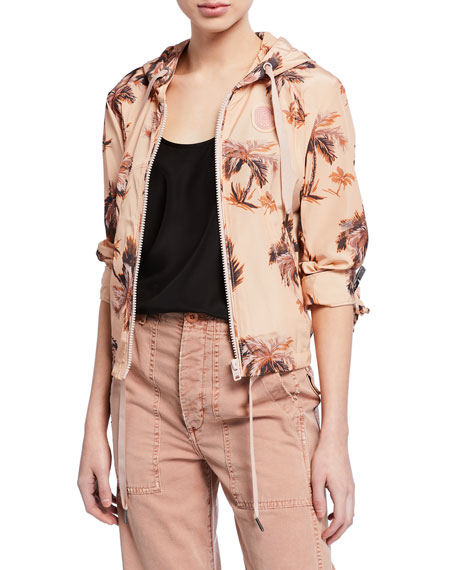 Coach Palm-Tree Printed Zip-Front Hooded Wind Jacket
