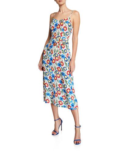 Josephine Silk Floral-Print Long Slip Dress