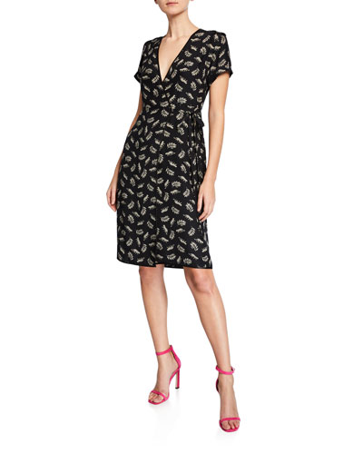 Vera Printed Silk Short-Sleeve Wrap Dress