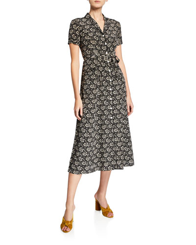 Long Maria Printed Button-Down Midi Dress