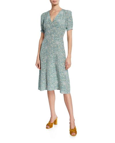 Paula Printed Silk V-Neck Dress
